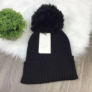 A New Day | Black Ribbed Knit Beanie Hat Pom Pom